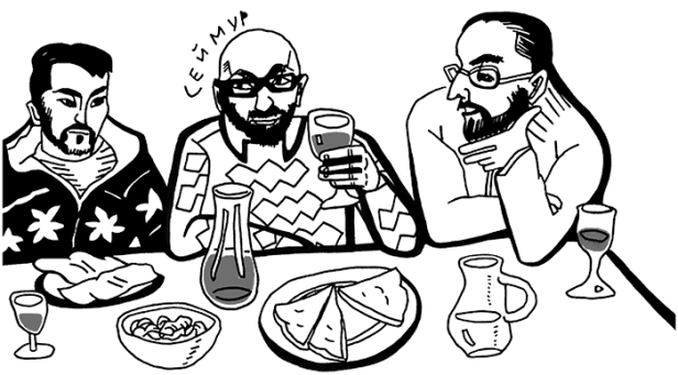 Drawing of Seymur and friends eating