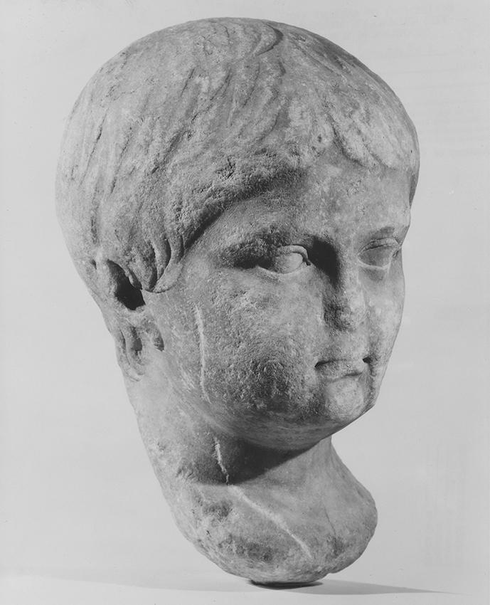 "Roman, Nero (?). 30 B.C.E.–50 C.E., Marble. 105/8 × 613/16 × 71⁄8"". Brooklyn Museum, Gift of Julius J. Ivanitsky in memory of his parents, Jacob and Ida Ivanitsky, 79.119.1."