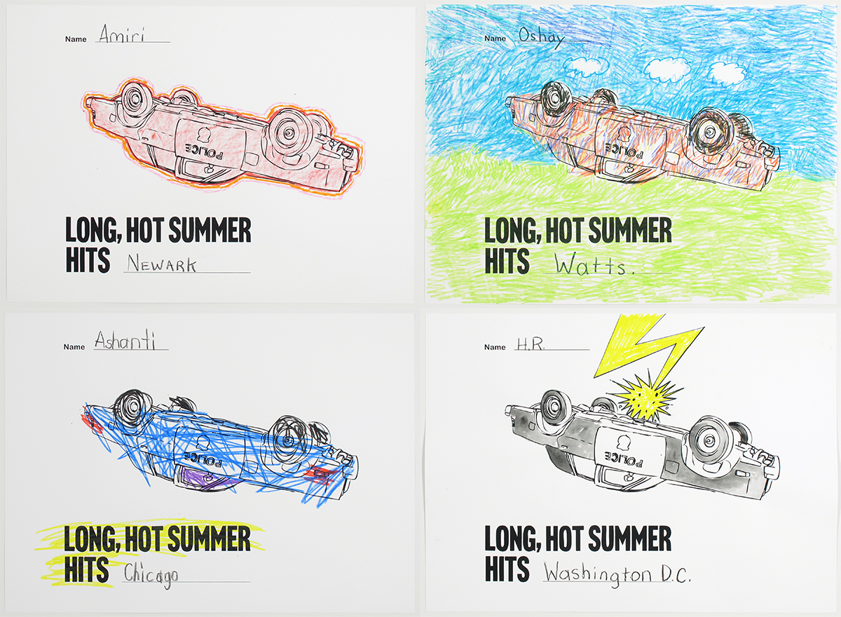 Four panels show the same coloring book image of a cop car flipped over and the words