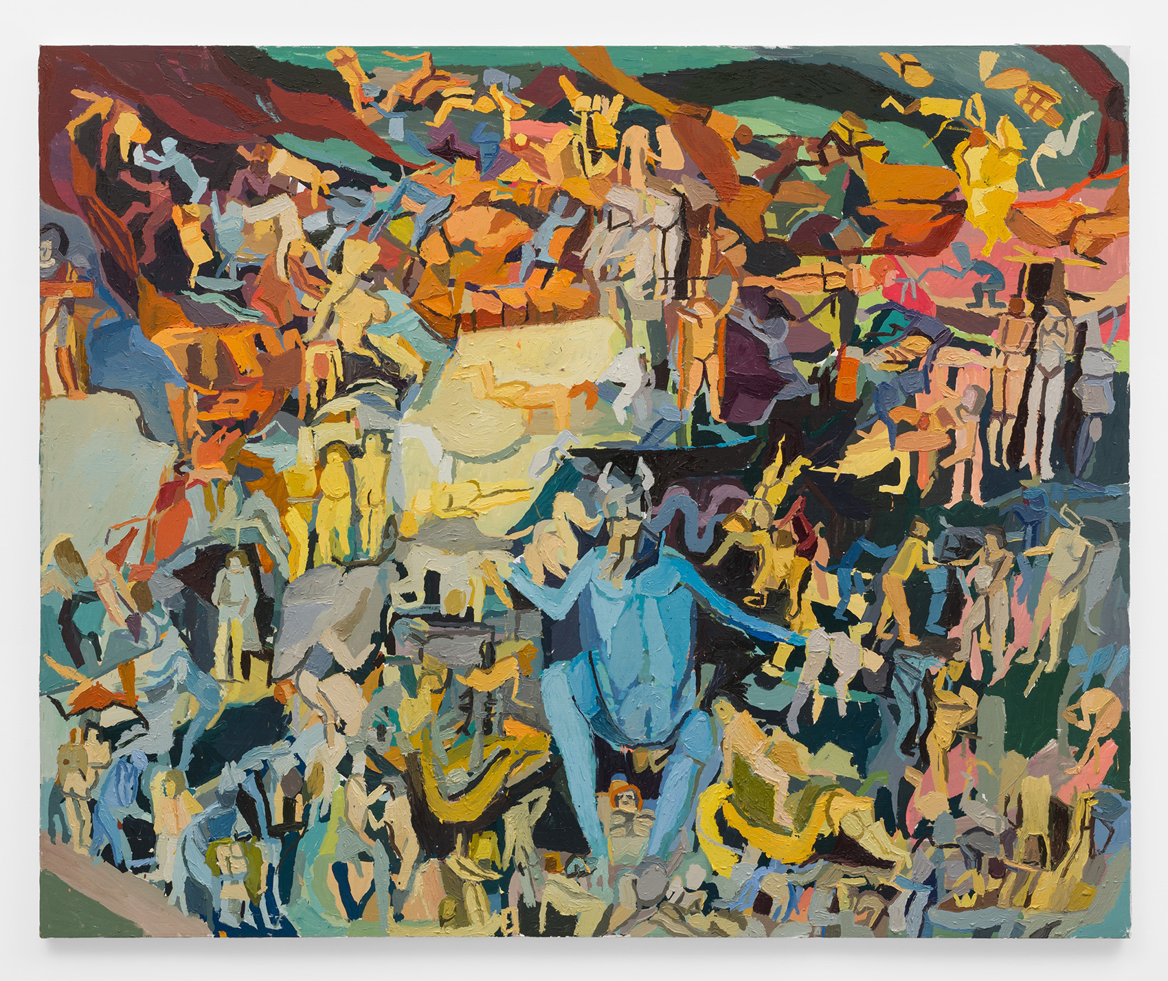A colorful painting depicts a large mass of human-like figures. They are preoccupied with various tasks, though some seem to be in turmoil as a larger blue creature in the center of the painting eats them.
